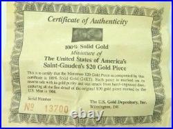 100% Solid 24K Gold Miniature $20 Gold Piece/COA