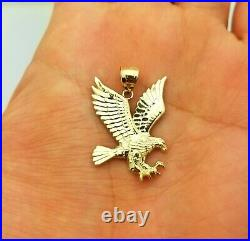 10K Yellow Gold American Eagle Pendant Charm Diamond Cut Eagle Charm