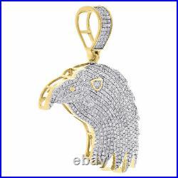 10K Yellow Gold Diamond American Eagle Bird Pendant Mens Pave Charm 1.03 Ct