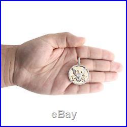 10K Yellow Gold Diamond Medallion Seal of President American Eagle Pendant. 40Ct