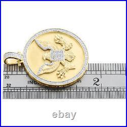 10K Yellow Gold Diamond Seal of US President American Eagle Pendant Charm 3/4 CT