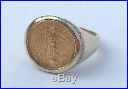 14K GOLD 0.20 TCW DIAMOND RING 1992 AMERICAN EAGLE $5 GOLD COIN SZ 10 14.2 gr
