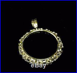 14K Yellow Gold BYZANTINE FRAME PENDANT for 1 OZ US American Eagle Coin