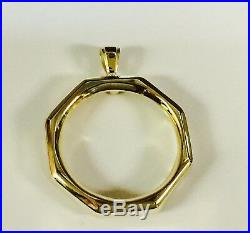 14K Yellow Gold Coin Pendant Mounting only for 1 OZ US American Eagle Coin