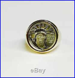14K Yellow Gold Mens 19.5MM COIN RING with 1/10 OZ PLATINUM AMERICAN EAGLE COIN