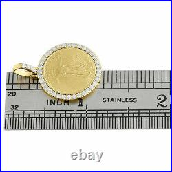 14K Yellow Gold Over American Eagle Liberty Diamond Mounting Pendant 0.63 CT