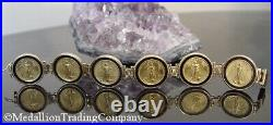 14k 22k Gold 1997 (6) Liberty American Eagle $5 Coin Bracelet with Onyx 37.8 grams