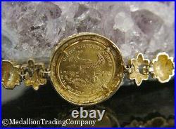 14k 22k Gold 2000 Liberty American Eagle $5 Coin Greek Key Fleur di Lis Bracelet