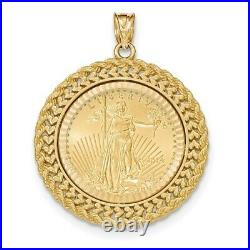 14k Gold Double Row Diamond Cut Bezel With 1/4oz American Eagle Coin