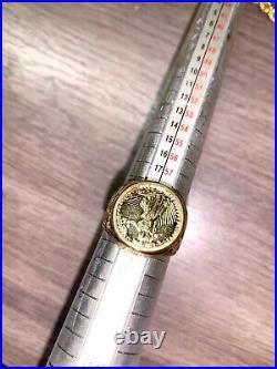 14k Gold Ring with American Eagle Coin Design 9 Signet 10 Grams 17mm 925 HC Vtg
