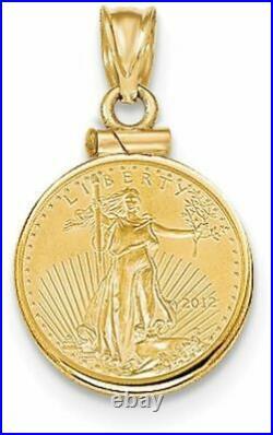 14k Yellow Gold 1/10th oz Mounted American Eagle Screw Top Coin Pendant BA10/10A