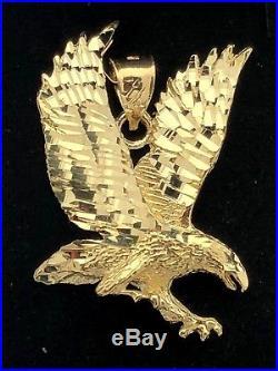 14k Yellow Gold Solid Diamond-Cut Flying American Eagle Charm Pendant 9.8g