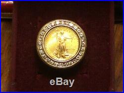 14kt gold diamond mens ring with 24kt gold 1996 american eagle! Heavy 15.1 Gr