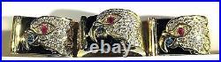 18K Yellow Gold Diamond Eagle Head Matching Men's Ring & Cuff Link Set 3.72 TCW