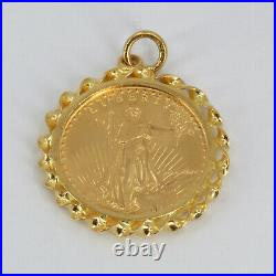 1986 1/4 ounce $10 Gold American Eagle Gold Coin With 14K Frame