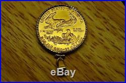 1986 $25 Gold 1/2 Oz American Eagle In A 14k Bezel Pendant