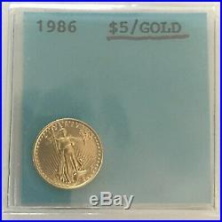 1986 American Gold Eagle 1/10 oz $5 Brilliant Uncirculated