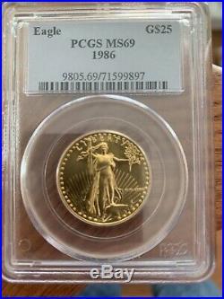 1986 American Gold Eagle (1/2 oz) $25 PCGS MS69