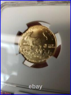 1986 G$10 Gold 1/4 oz. American Eagle MS70 NGC John M Mercanti. 50 graded 70
