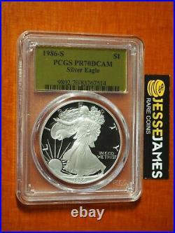 1986 S Proof Silver Eagle Pcgs Pr70 Dcam Gold Foil Label Better Date