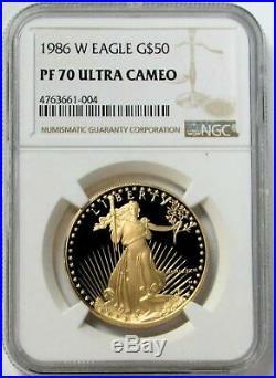 1986 W GOLD NGC PF 70 UC 1oz PROOF $50 AMERICAN EAGLE