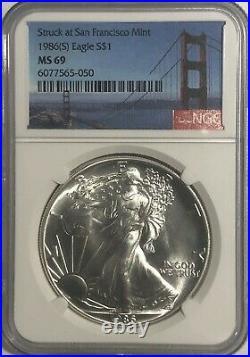 1986 (s) Ngc Ms69 $1 Silver Eagle 1 Oz Golden Gate Label Struck At San Francisco