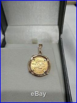 1987 $5 American Gold Eagle 1/10oz Coin In 14kt Diamond Pendant Jewelry