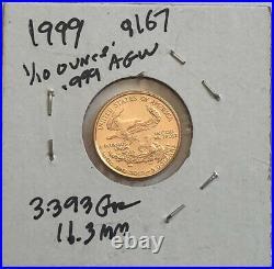 1987 $5 Dollar American gold Eagle 1/10 oz. 999 AGW-COIN-SELING BELOW LIST yy