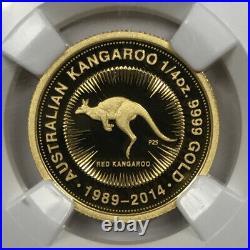 1989-2014-P Australia 1/4 oz Gold Kangaroo 25th Ann. $25 NGC PF70 Ultra Cameo FR
