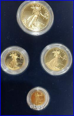1989 GOLD PROOF American Eagle 4 Coin Set Box with COA NO RESERVE