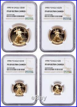 1990 4 Coin Gold American Eagle Proof Set NGC PF69 UC SKU17306