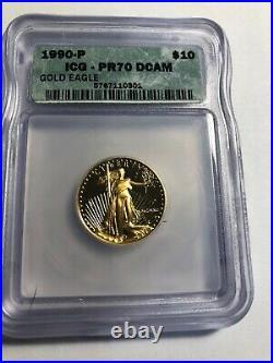 1990 ICG PR70 DCAM 10.00 Gold Eagle Top Grade Perfect Coin