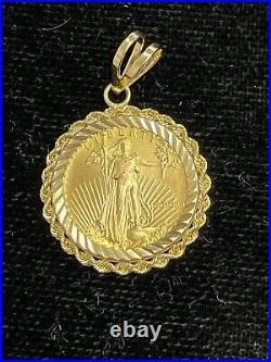 1991 $5 American Gold Eagle 1/10 oz. 999 pendant with 14k gold Bezel MCMXCI