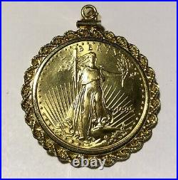 1995 $25 Pure Gold 1/2 Oz American Eagle Coin In A 14k Bezel Rope Pendant