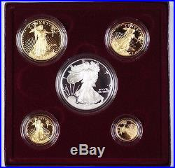1995-w American Silver and Gold Eagle Proof Coin Collection 2 Cases With COA