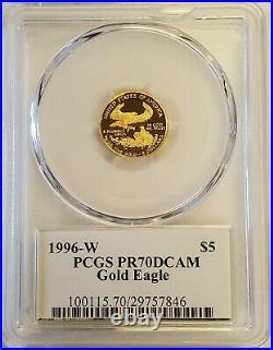 1996-W $5 1/10 oz Proof Gold American Eagle Saint Gaudens Label PCGS PR70 DCAM