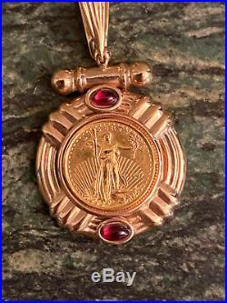 1997 US $5 Dollar 1/10oz American Eagle Gold Coin 14k Pendant 6 Grams