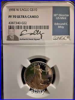 1998 $10G US Gold Eagle 1/4 oz NGC PF70UC Ed Moy Edition