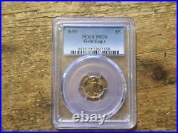 1999 $5 1/10 Oz American Gold Eagle Pcgs Ms-70 Perfect