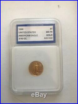 1999 Gold American Eagle 1/10oz IGS MS 70