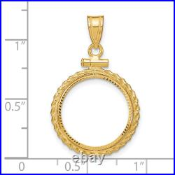 1/10 oz American Eagle Diamond-Cut Screw Top Coin Bezel with Rope Border