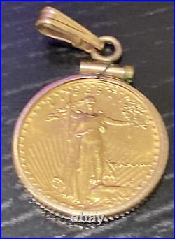 1/10 oz American Eagle Gold Coin Pendant Necklace Pre Owned