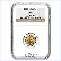 1/10 oz Gold American Eagle MS-69 NGC (Random Year) SKU #83508
