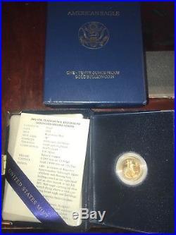 2001 1/10oz Proof W Gold American Eagle $5 With US Mint Box, COA