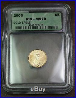 2003 American Gold Eagle $5 Coin, ICG MS-70, 1/10 Oz