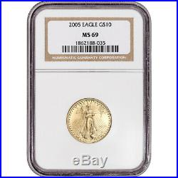 2005 American Gold Eagle 1/4 oz $10 NGC MS69