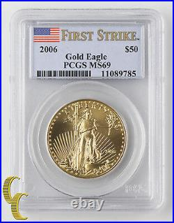 2006 1 oz Gold American Eagle $50 Graded by PCGS as MS-69 First Strike