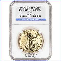 2006-W American Gold Eagle Reverse Proof 1 oz $50 NGC PF70 20th Anniversary