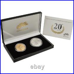 2006-W US American Eagle 20th Anniversary Gold & Silver Burnished Two-Coin Set