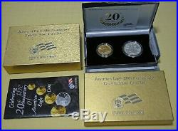 2006 W US American Eagle 20th Anniversary Gold & Silver Burnished Two-Coin Set